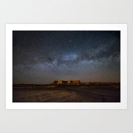 Across the Universe - Milky Way Galaxy Above Mesa in Arizona Art Print