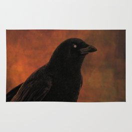 Crow Portrait In Black And Orange Rug
