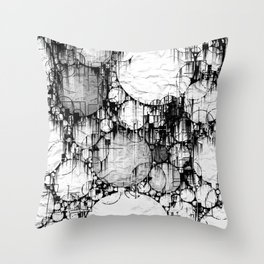 Glitch Black & White Circle abstract Throw Pillow