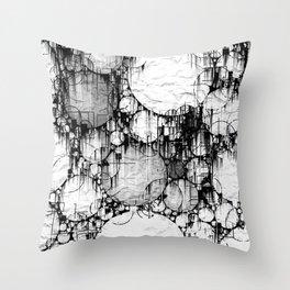 Glitch Black & White Circle abstract Throw Pillow
