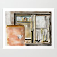 bathroom Art Prints featuring Bathroom by smognus