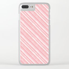 Pink, white diagonal stripes. Clear iPhone Case