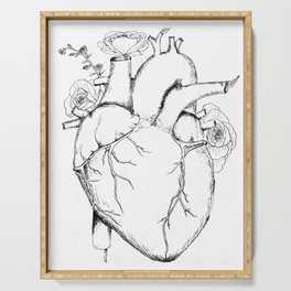 Black and White Anatomical Heart Serving Tray