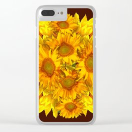YELLOW SUNFLOWERS CHOCOLATE GARDEN ART Clear iPhone Case