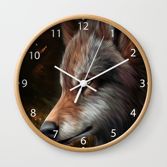 The head of a wolf painting.   Wall Clock