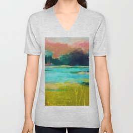 Lime and Turquoise Unisex V-Neck