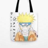 naruto Tote Bags featuring Naruto Uzumaki by rosalia