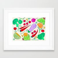 vegetables Framed Art Prints featuring Vegetables! by Niche Drawings