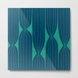Striped Cactus pattern in navy and green Metal Print