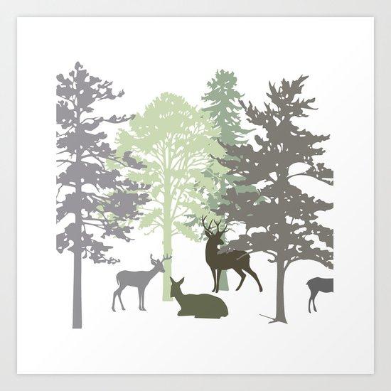 Morning Deer In The Woods No. 1 Art Print