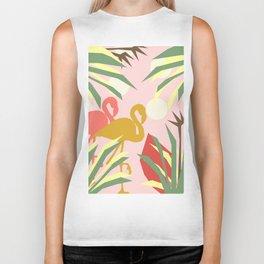 Flamingo jungle pink coral Biker Tank