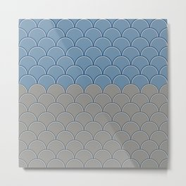 Geometric Circle Shapes Beachy Fish Scale Pattern in Blue and Gray Metal Print