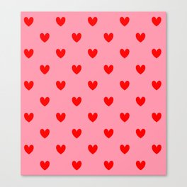 Red Heart Pattern Canvas Print