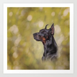 Drawing Doberman dog 2 Art Print