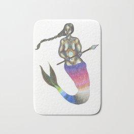 mermaid with a braid holding a spear Bath Mat