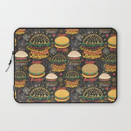 Graphic seamless pattern bright tasty burgers on a dark background Laptop Sleeve
