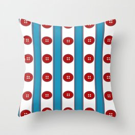 Red Buttons Ribbons Throw Pillow