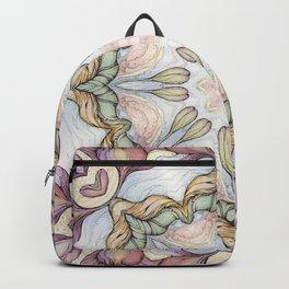 purple flowers hand drawn and  kaleidoscope mandala Backpack