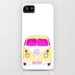Happy Camper Vintage Van pink & gold iPhone Case