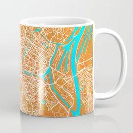 Strasbourg, France, Gold, Blue, City, Map Coffee Mug