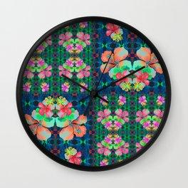 Retro Magic Hawaiian Floral Print Wall Clock