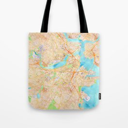 Boston watercolor map XL version Tote Bag