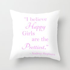 Happy Girls - Pink and white Throw Pillow