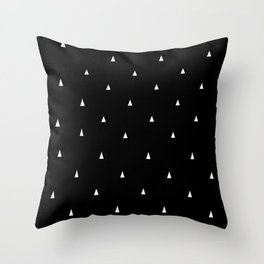 Black with white triangles Throw Pillow