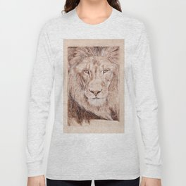 Lion Portrait - Drawing by Burning on Wood - Pyrography Art Long Sleeve T-shirt