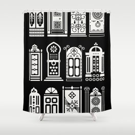 Moroccan Doors – White Ink on Black Shower Curtain