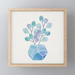 Blue Bonsai - Potted Plant Framed Mini Art Print