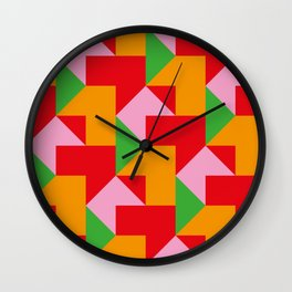 Green red Orange pink coloured mosaic with edges and squares and rectangular shapes and others Wall Clock