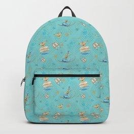 Princess Jasmine Icons on Blue  Backpack