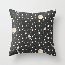 Space - Stars Moon and Astronauts on black Throw Pillow