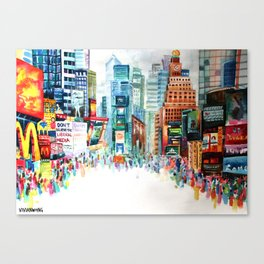 Times Square, New York City - Landscape Watercolour Painting Canvas Print