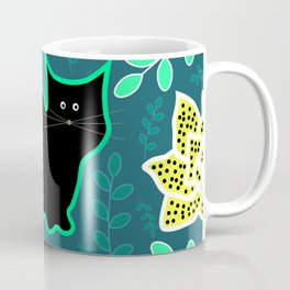 Curious cat and monstera leaves Coffee Mug