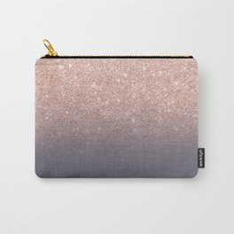 Modern faux rose gold glitter ombre gradient on purple grey Carry-All Pouch