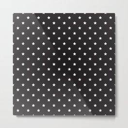 Pattern Etoiles Blanc/Noir Metal Print