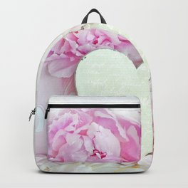 Pastel Pink Peonies Romantic Shabby Chic Heart Pink Floral Print Wall Art Home Decor Gift Decor Backpack
