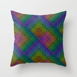 Multicoloured hypnotic diamond trance pattern Throw Pillow