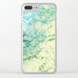 Abstract modern teal brown marble tree pattern Clear iPhone Case