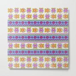 Floral Ikat Pattern Metal Print