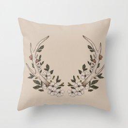 Floral Antler Throw Pillow