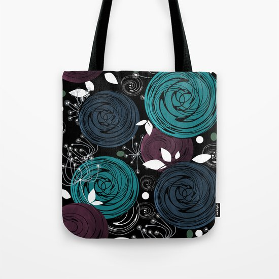 Abstract flowers on a black background . Tote Bag
