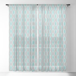 Mid Century Modern Striped Contemporary Geometric Beaded Garland in Turquoise and Gray Sheer Curtain