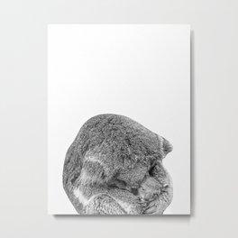 koala holding little koala b&w Metal Print