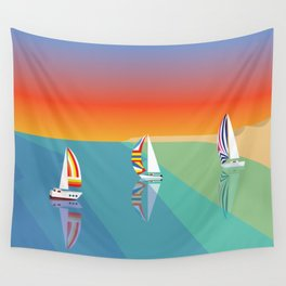 Sailing on the Beach Wall Tapestry