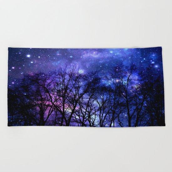 Black Trees purple blue SPACE Beach Towel