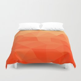 Abstract Geometric Gradient Pattern between Pure Red and very light Orange Duvet Cover