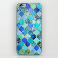 green iPhone & iPod Skins featuring Cobalt Blue, Aqua & Gold Decorative Moroccan Tile Pattern by micklyn